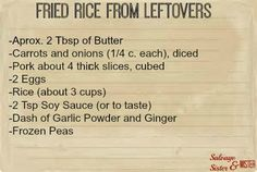 Fried Rice Using Last Nights Leftovers - Salvage Sister and Mister Leftover Pork Loin Recipes, Leftover Rice Recipes, Leftover Pork Tenderloin, Beef Tenderloin Roast, Pork Rib Recipes, Leftovers Recipes, Leftover Pork Fried Rice Recipe, Grandma's Recipes, Game Recipes
