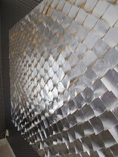Silver vinyl fish scale wall art
