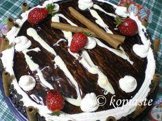 Birthday Cake with Chocolate and Strawberries  Τούρτα Γενεθλίων με Σοκολάτα και Φράουλες http://www.kopiaste.info/?p=277  #ΤούρταΓενεθλίων #BirthdayCake #Stawberries
