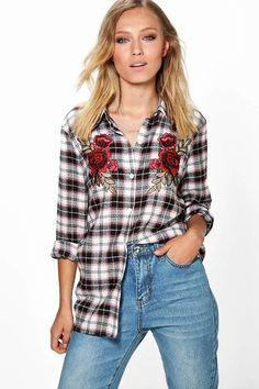 Camisa Xadrez Bordada - Compre Online   DMS Boutique