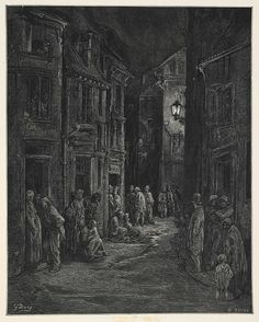 Poverty and squalor - Blue Gate Fields, Taken from London: A Pilgrimage by Blanchard Jerrold and Gustave Doré. Victorian London, London 1800, East End London, Victorian Life, Old London, Gustave Dore, Steampunk, Victorian Architecture, British History
