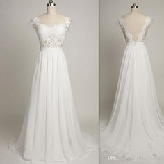Simple A Line Wedding Dresses Backless White Lace Scoop Neck Bridal Gowns…