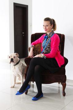Leopard Blouse, Bow Tie, Blue Bag, Blue Flats, Pink Cardigan