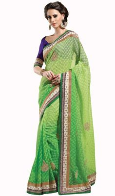 With each step you take dressed in this lime green shade jute silk embroidered sari. This engaging saree is displaying some great embroidery done with lace, patch and stones work. Upon request we can make round front/back neck and short 6 inches sleeves regular saree blouse also.#DhupionShadesOfJuteSilkSari