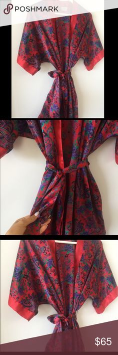 Beautiful Asian Kimono Kimono/Robe. From Hong Kong. Beautifully handmade. Lightly used.   ** All of my items are 100% authentic, guaranteed by me.    If you have any questions or would like more info, please ask!   I accept offers, so send away. I also offer bigger discounts on bundles. I'll always try to work with you but please no low-ball offers!   Happy Poshing!  Intimates & Sleepwear Robes
