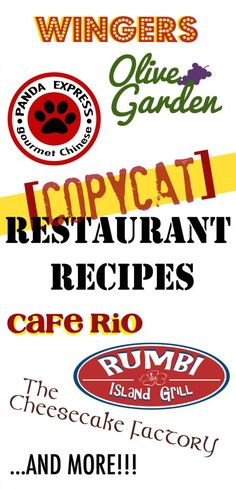 Copycat Restaurant Recipes {All our favorite knock off recipes from our favorite restaurants! Cafe Rio Recipes, Restaurant Recipes, Great Recipes, Favorite Recipes, Family Recipes, Copykat Recipes, Famous Recipe, Secret Recipe, Snacks