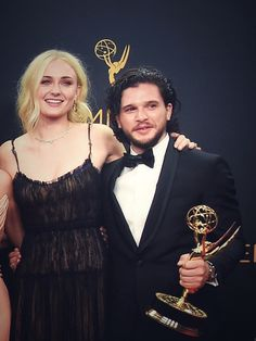 Sophie Turner and Kit Harington after Game of Thrones win for Outstanding Drama Series at the 2016 Emmy Awards.