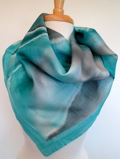 S261 Medium Square Hand Painted Silk Scarf - Deep Blue Sea