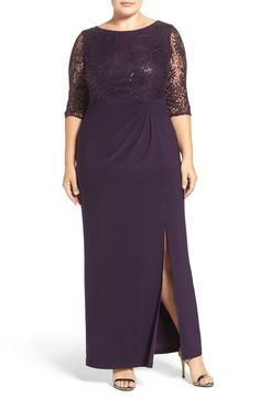 Purple mother-of-the-bride gown with lace sleeves and sequins. In Eggplant. Sequin Lace & Jersey Column Gown (Plus Size)