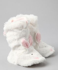 Furry bunny boots!!     White & Pink Snugs Booties by Bunnies by the Bay on #zulily today!