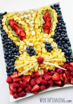Bunny Head Fruit Platter. Feeling bogged down with chocolate bunnies and candy coated eggs? A giant bunny head fruit platter is sure to bring a few smiles to your Easter party table.