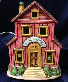 LEFTON  1988 COLONIAL VILLAGE 06749 COUNTRY SCHOOL HOUSE RED BRICK BARN W BOX  | eBay
