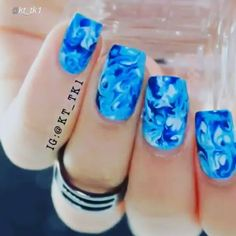 """Nail DIY tutorial. By @kt_tk1 Here is the tutorial of the marble nails inspired by the amazing @ellie_harry  Materials: orange stick that is use for the cuticles if you don't have one you can also use a toothpick. I used 3 different shades of blue. After you apply the polish, blend all the shades together doing """"light/soft"""" circular movements otherwise you will mark hard lines. When done wait a few minutes and finish with a top coat. For this mani I am using the top coat """"good to go"""" by…"""