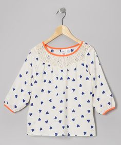 Not that I have a little girl, but this Ivory & Neon Coral Heart Top by KYUT on #zulily is adorbs.