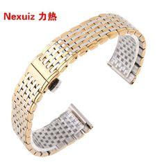 Hot sale Watchbands , 13 18mm Silver With Gold Stainless Steel Ultrathin  Watchband Bracelet  Men Women Quartz Watch straps #Affiliate