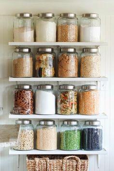 10 Pretty Ways to Organize Your Pantry - Spring Cleaning Kitchen Organization Inspiration - Kitchen Shelves, Kitchen Decor, Glass Shelves, Floating Shelves, Kitchen Jars, Kitchen Ideas, Kitchen Small, Kitchen Storage Jars, Kitchen Island