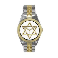 $56.95  ...3-D Golden Star of David Watch ...#Sale #art #artistic #StarofDavid #Watch #Zazzle #Jewish