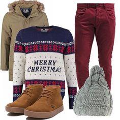 Il maglione vi fa calare perfettamente nello spirito delle feste. Pantaloni rossi per richiamare il motivo decorativo, scarponcini stringati chestnut, giaccone kaki e berretto grigio con trama a trecce e pompon. Festeggiate il Natale con un outfit ironico e un pizzico eccentrico.