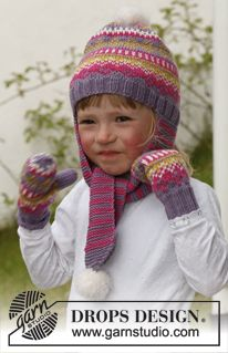 """Fideli - Knitted DROPS hat with long ear flaps and pattern in """"Merino Extra Fine"""" with pompoms in """"Symphony"""", and mittens with pattern in """"Merino Extra Fine"""". - Free pattern by DROPS Design Knitted Mittens Pattern, Baby Boy Knitting Patterns, Free Knitting, Baby Knitting, Knitted Hats, Crochet Hats, Drops Design, Crochet Motif, Crochet Patterns"""
