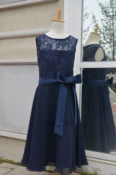 Navy Lace Chiffon Flower Girl Dress At Knee Length With Sash on Etsy, $46.99