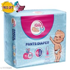 Others Kiddy soft pants diaper for baby - XL size(30pc, baby socks as free gift) Product Name: Kiddysoft Pants Diapers Extra Large 30 Counts (Baby Socks- FREE) Brand Name: KiddySoft Type: Pads Multipack: 30 Pads Size: XL Country of Origin: India Sizes Available: Free Size   Catalog Rating: ★4.3 (2051)  Catalog Name: Kid's Pants Diapers & Socks CatalogID_2066981 C84-SC1281 Code: 853-11113028-708