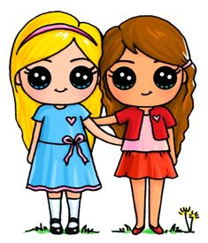 Best friends bff drawings, drawings of friends, kawaii drawings, cartoon . Kawaii Girl Drawings, Bff Drawings, Cute Girl Drawing, Cartoon Drawings, Draw So Cute Girl, Draw So Cute People, Cute Best Friend Drawings, Drawings Of Friends, Arte Do Kawaii
