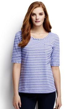 Women's Elbow Sleeve Stripe Jacquard Top from Lands' End