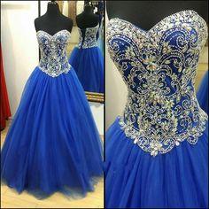 Evening Dresses Vestido Para Festa Royal Blue Crystals Ball Gown Princess Prom Dress