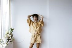 oversized linen shirt, featuring wide arms and front pocket loose fitting shorts with elastic waist and drawstring can be worn at home, in bed or out made from 100% stone washed french linen