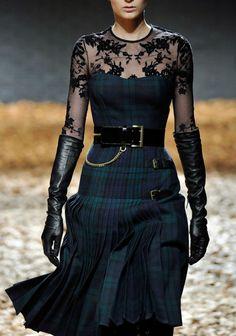 Black watch tartan and lace.