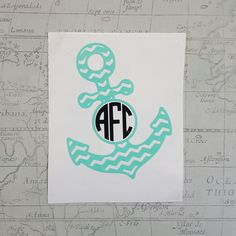 Chevron Anchor With Monogram Vinyl Decal Car Decal by JEDesignShop
