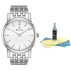 Bulova 96A115 Men's Dress Duet Watch with 30ml Ultimate Watch Cleaning Kit