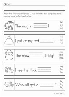 Kindergarten Winter Literacy Worksheets & Activities No Prep. A page from the unit: write the correct CVC word