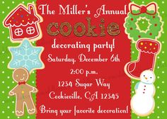 Christmas Cookie Decorating Party Invitation Print by vmiddleton5, $6.25