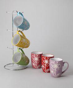 Look at this #zulilyfind! Flower Mug & Stand Set by home basics #zulilyfinds