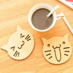 New Drinks Coffee Tea Holder Cute Cat Owl Wooden Carved Coasters Cup Mug Mat Kitchen Table Decor Placemat Cat Coasters, Wooden Coasters, Drink Coasters, Tea Holder, Coffee Holder, Drink Holder, Coffee Cups, Tea Cups, Coffee Prices