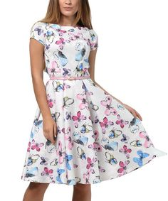 This Milk & Pink Butterfly Cap-Sleeve Pleat-Skirt Dress - Plus Too is perfect! #zulilyfinds