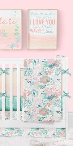 Girl Crib Bedding Ocean Baby Girl Nursery Floral Crib Bedding Nautical Coral and Mint Beach Nursery Crib Bumpers Baby Blanket Art Beach Theme Nursery, Mermaid Nursery, Baby Girl Nursery Themes, Floral Nursery, Baby Boy Rooms, Nursery Room, Girl Nautical Nursery, Baby Room, Nursery Ideas