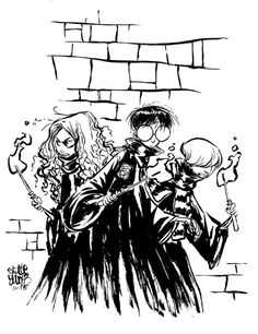 #Dailysketch Harry, Ron, and Hermione. Original available in my shop http://skottieyoungstore.bigcartel.com