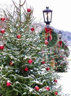 Snow and Christmas magic. … - Christmas Home Decorations Christmas Tree Farm, Noel Christmas, Merry Little Christmas, Country Christmas, Christmas Lights, Christmas Wreaths, Christmas Decorations, Xmas, Outdoor Christmas Trees