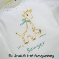 Gerry Giraffe  Hand Embroidered Onesie For Boy or Girl