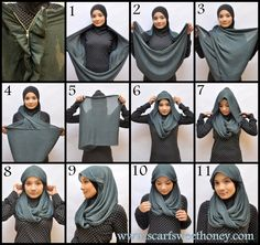 I have collected hijab styles step by step tutorial. It consists of steps required to wear beautiful hijab styles. These steps for hijab styles are easy. Turban Hijab, Mode Turban, Islamic Fashion, Muslim Fashion, Hijab Fashion, Fashion Scarves, How To Wear Hijab, How To Wear Scarves, Tutorial Hijab Segitiga