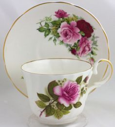 Pink Rose Teacup Saucer England Mayflower Fine Bone China Floral Tea Cup Saucer Set, English Rose Tea Party Decor