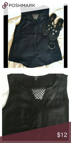 "Black Tank Top- NWOT Black button down tank;  Mesh design at top 24 1/2"" in length. Hits at waist and has a Mandarin -type collar NWOT. Never worn.  Perfect condition! Very J Tops Tank Tops"