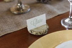 Place cards for a rustic look.