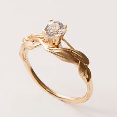 Leaves Engagement Ring - 14K Gold and Diamond engagement ring, engagement ring, leaf ring, filigree, antique, art nouveau, vintage
