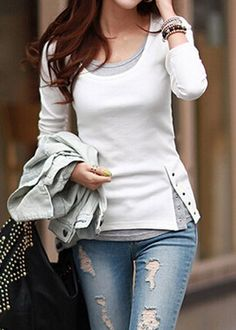 Casual Scoop Neck Long Sleeve Faux Twinset Design T-Shirt For Women