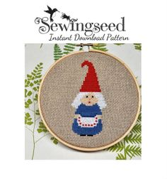 INSTANT DOWNLOAD Little Old Lady Gnome Cross Stitch Pattern