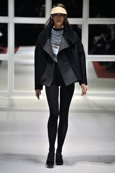 Look Faux Coat with Space Leotard Faux Coat, London College Of Fashion, Fall Winter, Autumn, Leotards, Ready To Wear, Normcore, Space, How To Wear