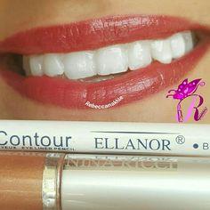 """هذا #أحمر_الشفاه اللي استعملته اليوم  Showing my #lips of the day using Ellanor Lipliner Pencil #BP024 in """"Morgan"""" and Fake Nina Ricci Lipgloss #07"""